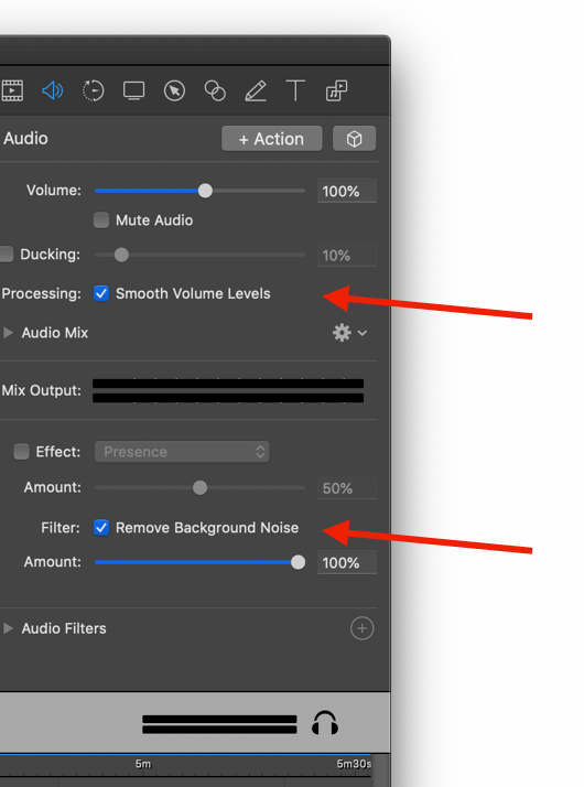 Screenflow options to smooth volume levels and remove background noise